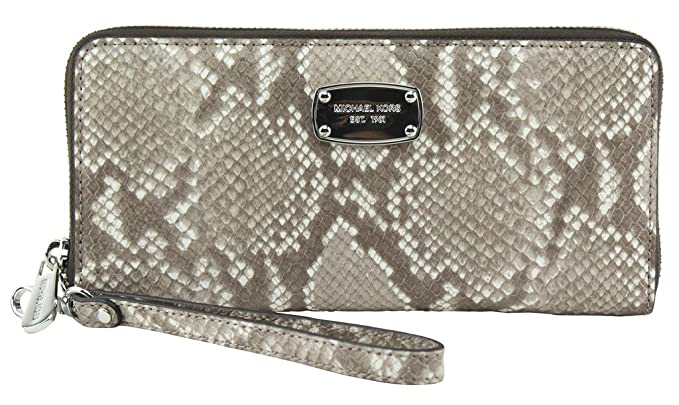 7566d2c43f58 Michael Kors Leather Jet Set Travel Embossed Leather Continental Zip Around  Wallet Wristlet (Dark Sand): Amazon.co.uk: Clothing