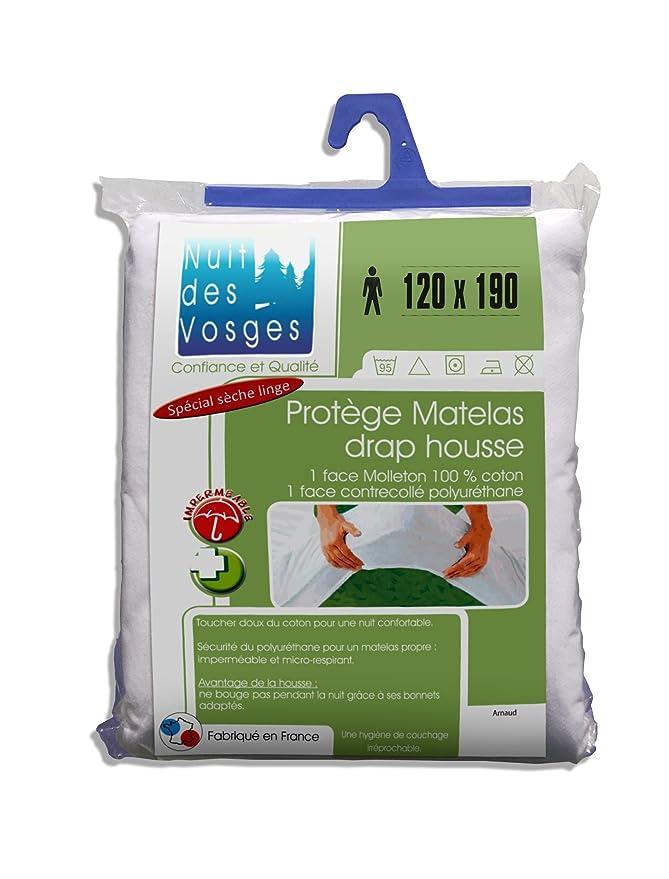 Nuit des Vosges 2035681 Arnaud Protector de colchón impermeable Algodón blanco 190 x 120 cm: Amazon.es: Hogar
