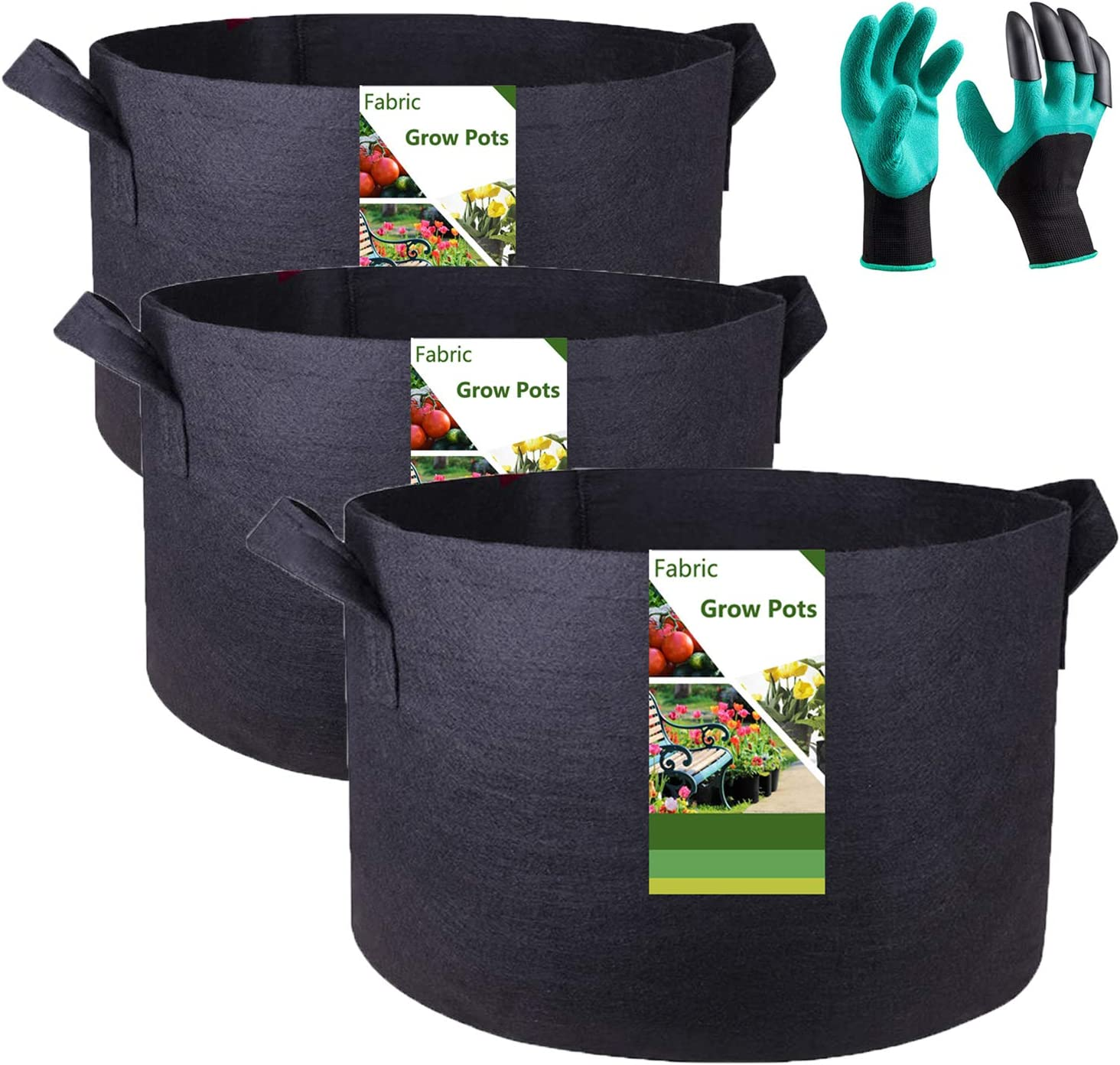 Tespher Professional 3-Pack 30 Gallon Round Fabric Pots Grow Bags (24x16 inches) with Coated Garden Gloves,Root Aeration Containers Plant Bags Flower Pouch Vegetable Container Planters