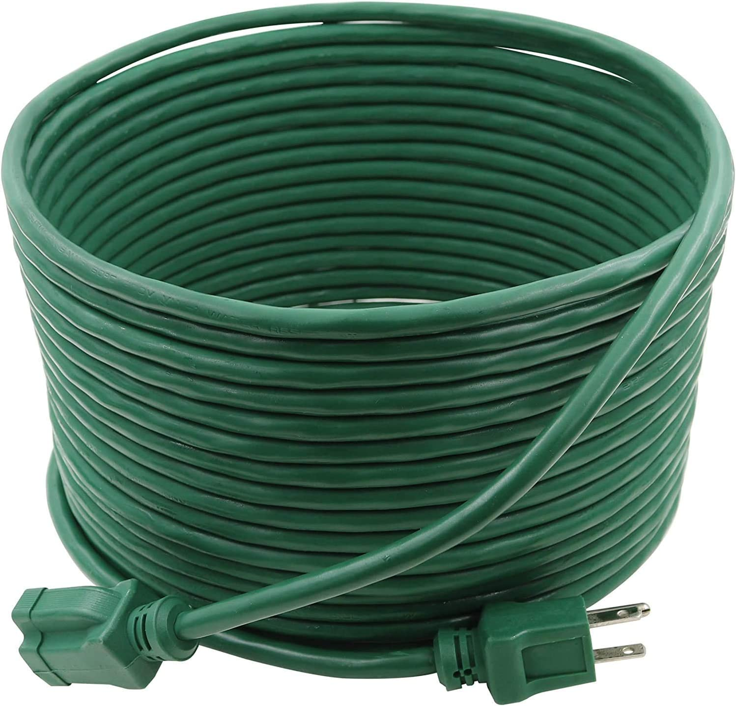 Clear Power 35 ft Lawn & Garden Outdoor Extension Cord 16/3 SJTW, Green, Water & Weather Resistant, Flame Retardant, 3 Prong Grounded Plug