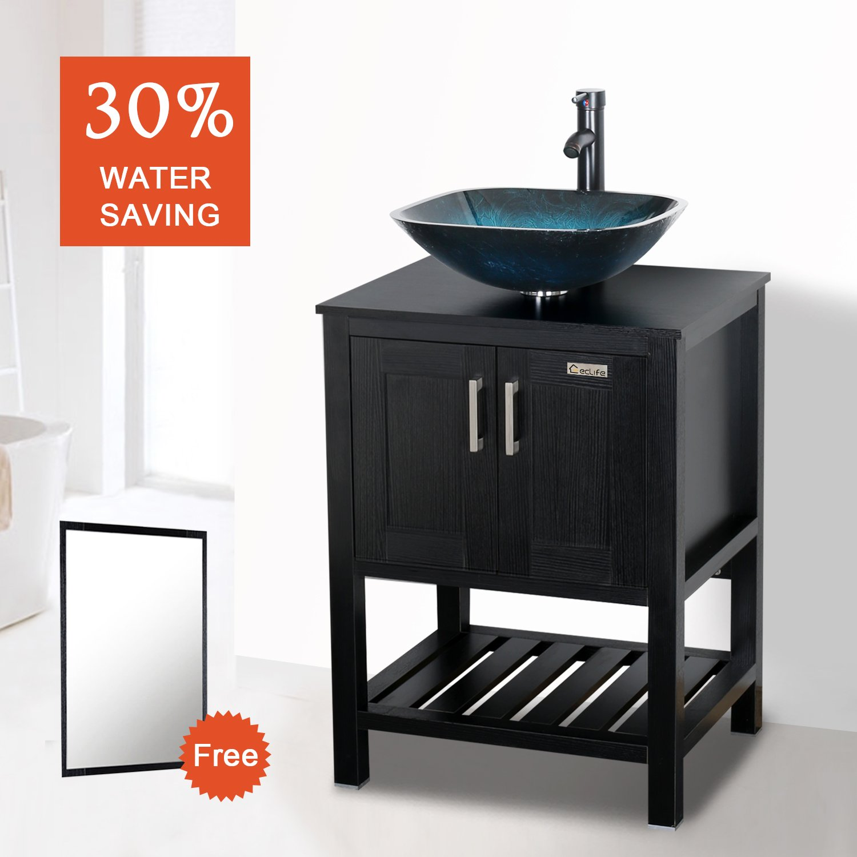 Eclife 24u0027u0027 Modern Bathroom Vessel Sink And Vanity Combo Square Temper  Glass Vessel Sink