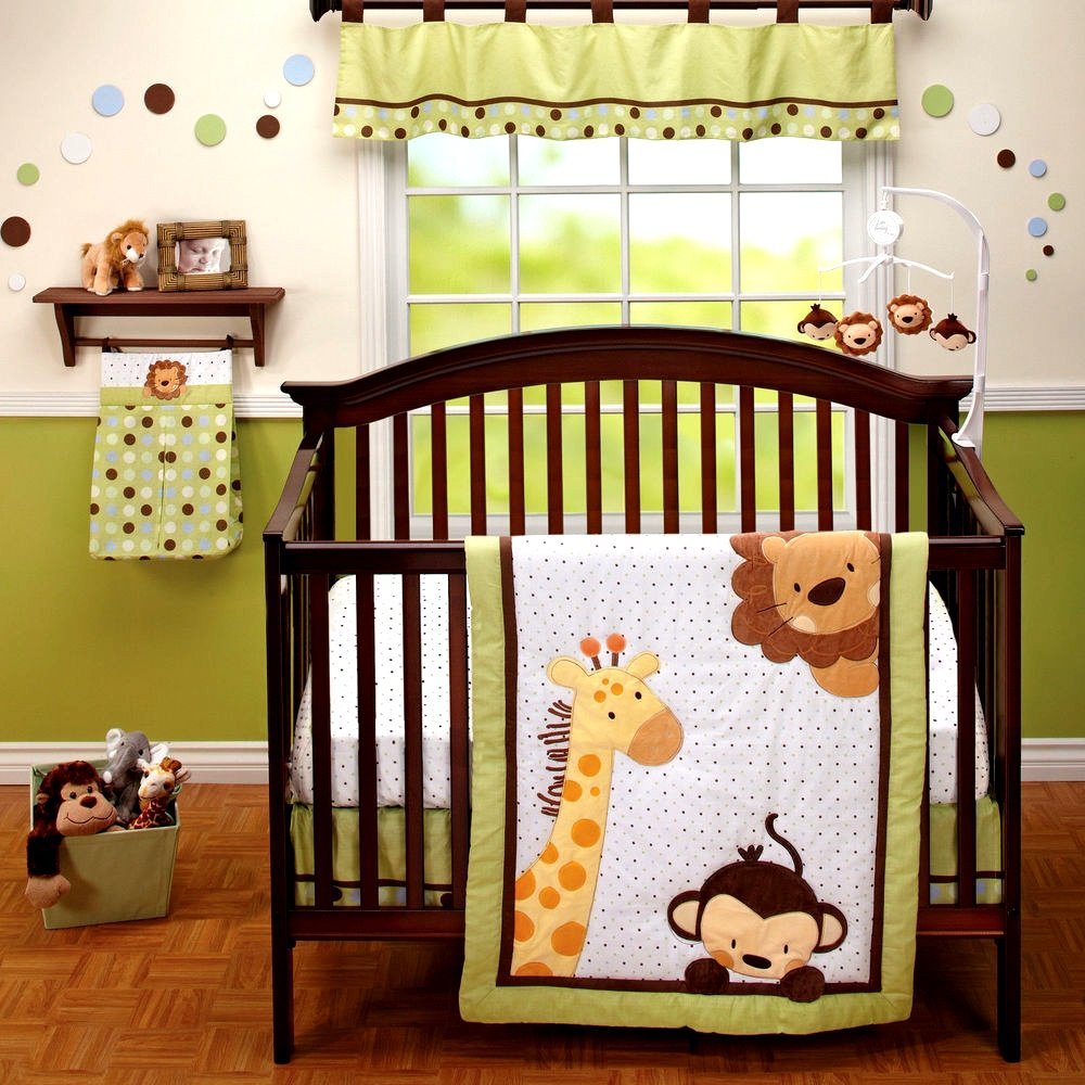amazon com little bedding 3 piece comforter set jungle pals