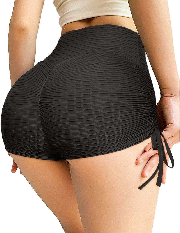 Womens Butt Lift Yoga Shorts High Waist Tummy Control Scrunch Hot Pants Textured Ruched Leggings Gym Running Beach Shorts