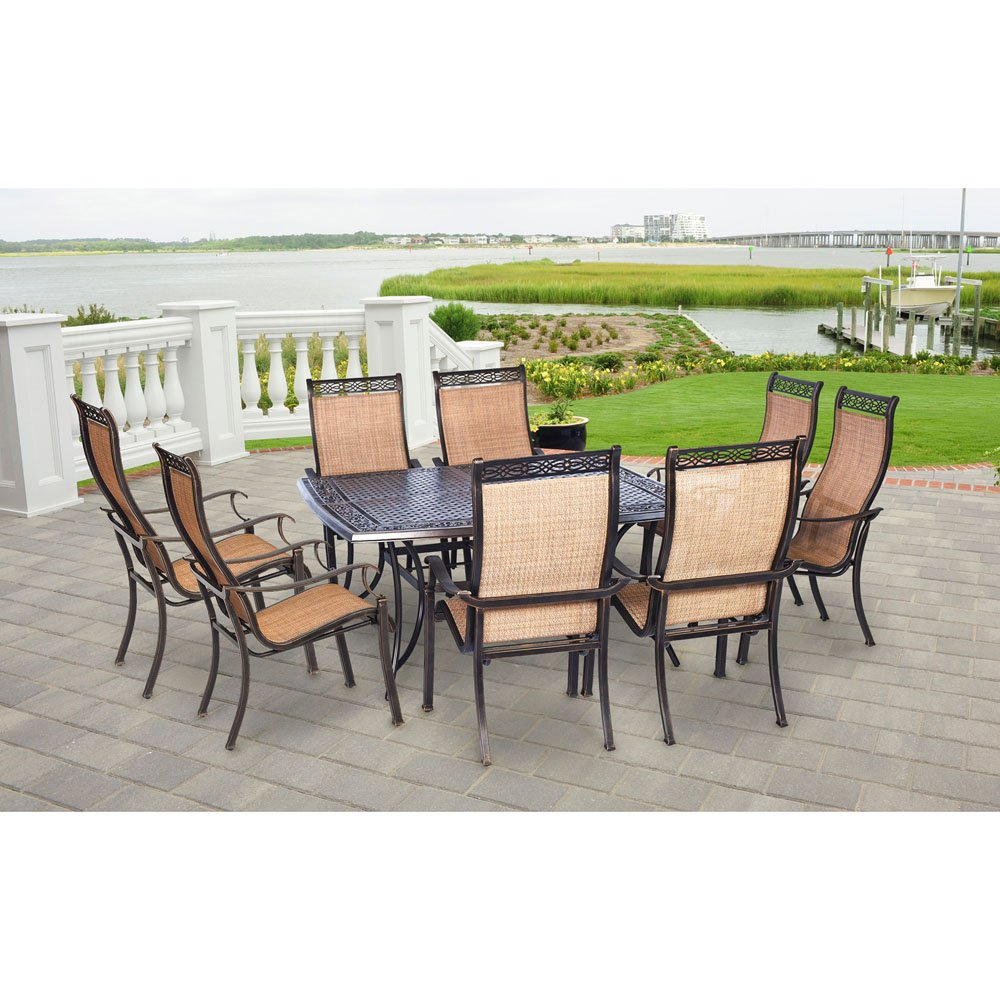 Amazon com hanover mandn9pcsq p manor 9 piece rust free 8 pvc sling chairs and aluminum square t outdoor patio dining set garden outdoor