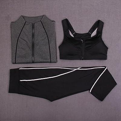 HJMTRY Printemps et Automne à manches longues Sport des femmes 3 pc Costume à séchage rapide Yoga Confortable Costumes pour la Course d'escalade Tennis Force Entraînement Gym Vêtements
