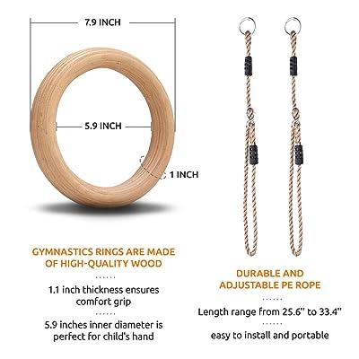 1.5inch Wooden Gymnastics Rings Set 1500lbs Olympic Strength Training Monkey Bar