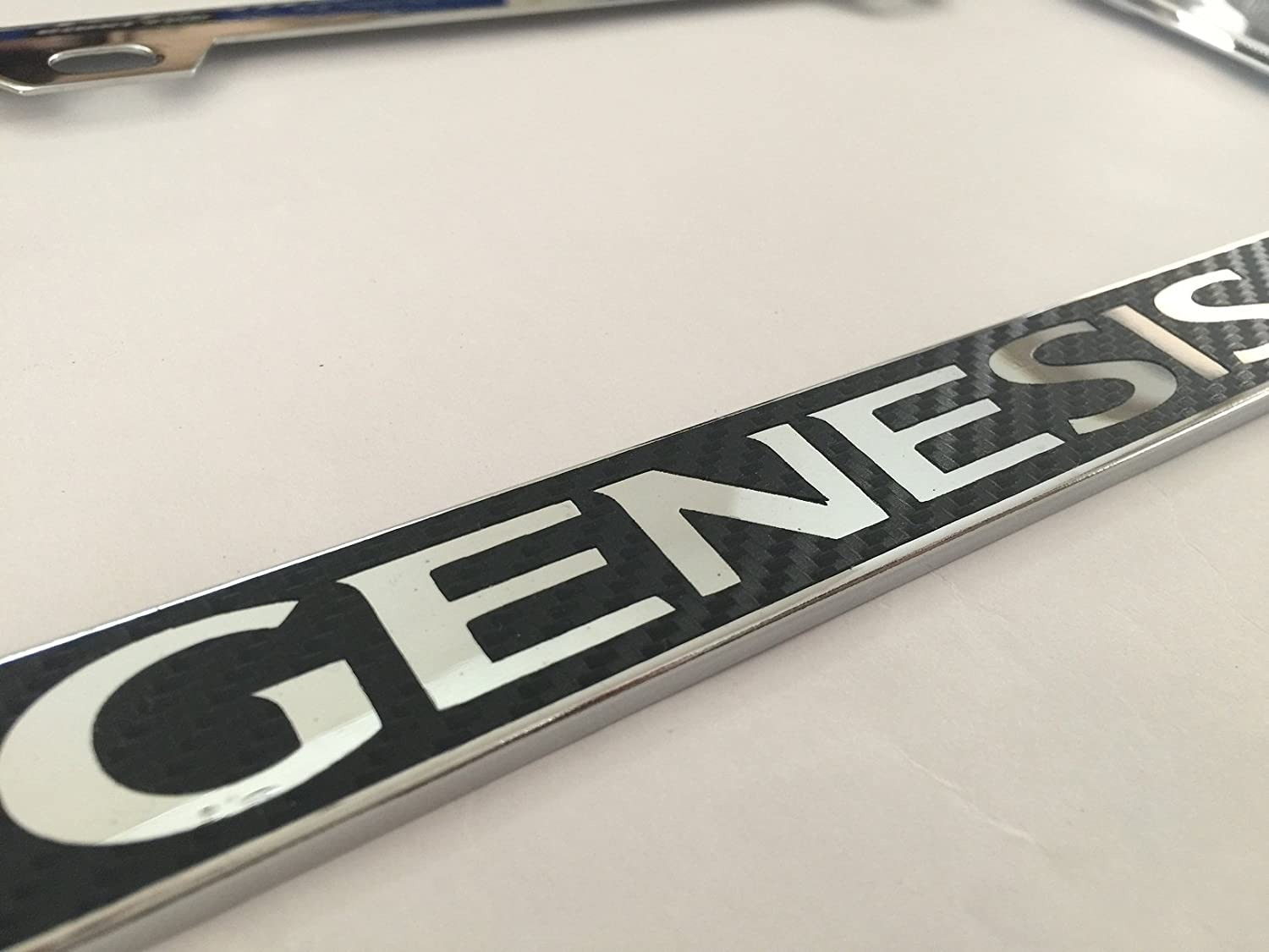 Genesis Coupe Black Carbon Fiber Vinyl Decal Reverse on Chrome Metal License Frame with Screw caps Included