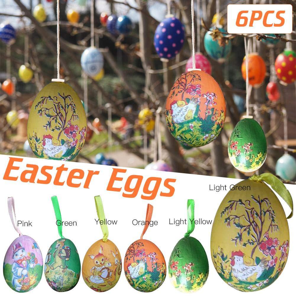 a Forma di Uovo di Pasqua Rosa da Appendere Funihut Set di 6 Uova di Pasqua in Schiuma Colorata