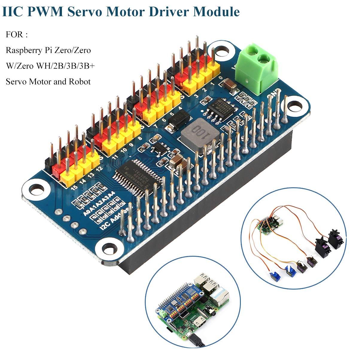 MakerHawk PWM Servo Motor Driver IIC Module 16 Channel PWM Outputs 12 Bit Resolution I2C Interface Compatible with Raspberry Pi Zero/Zero W/Zero WH/2B/3B/3B+ and Robot