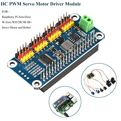 MakerFocus PWM Servo Motor Driver IIC Module 16 Channel PWM Outputs 12 Bit  Resolution I2C Interface Compatible with Raspberry Pi Zero/Zero W/Zero