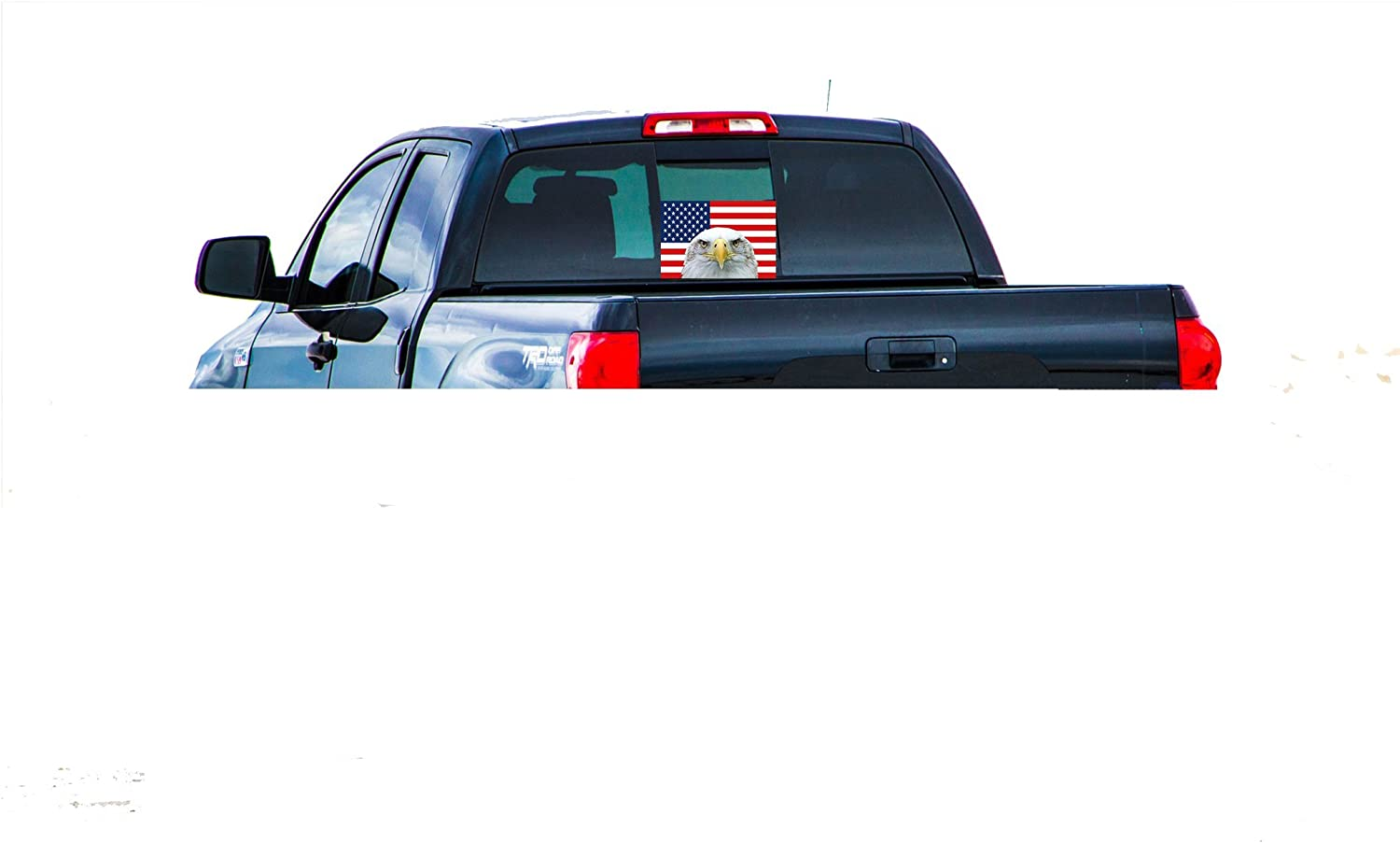Rogue River Tactical Large American Eagle US Flag Car Decal USA Patriotic Stars and Stripes Auto Bumper Sticker Vinyl Window Truck RV SUV Boat Support US Military