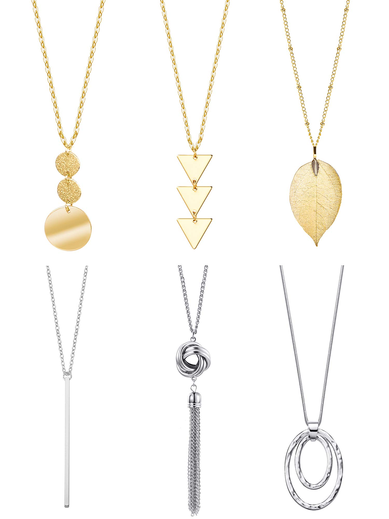 6 Pieces Y-Shaped Long Chain Necklace, Layer Simple Bar Necklace Tassel Statement Pendant for Women (Style 1) by Tatuo