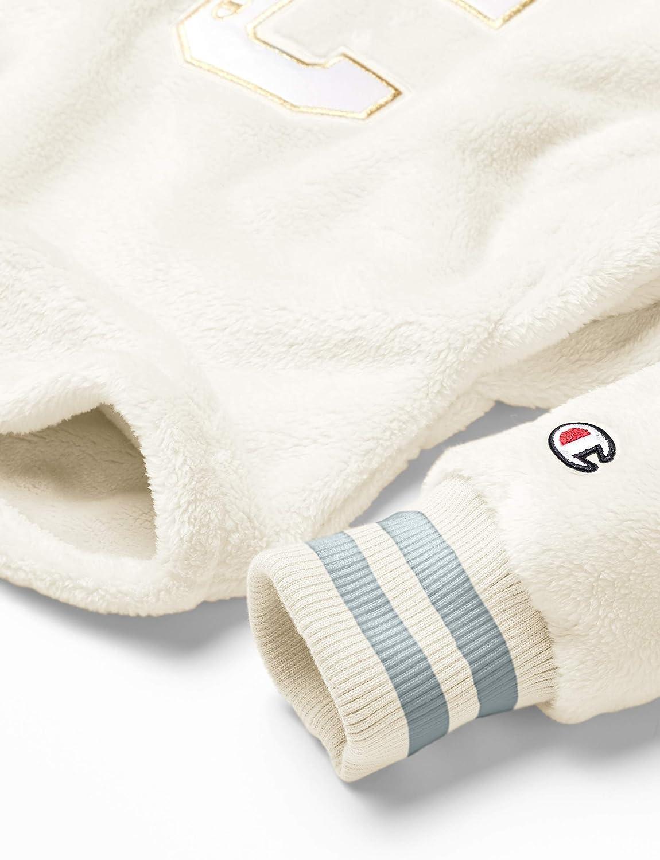 Champion Damen Super Fleece Faux Fur Cropped Cut Off Po Hood-Felt C Kapuzenpulli Kreideweiß