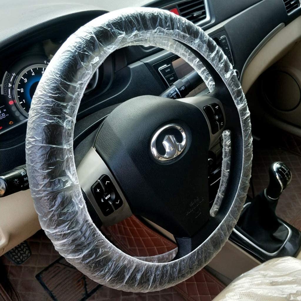 Betrothales Steering Wheel Cover 100Pcs Universal Car Disposable Plastic Steering Wheel Cover Waterproof Sale Cool Things Color : 10 St/ück-Size
