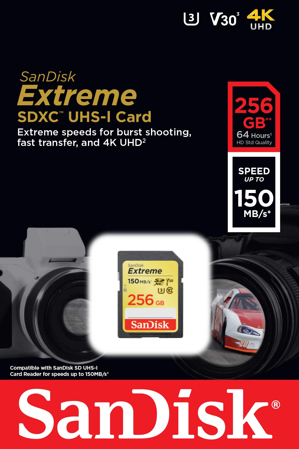 SanDisk 256GB Extreme SDXC UHS-I Card - C10, U3, V30, 4K UHD, SD Card - SDSDXV5-256G-GNCIN by SanDisk (Image #4)