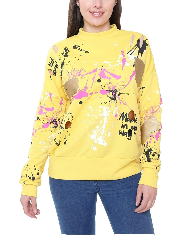 Rimi Hanger Womens Long Sleeve Paint Splatter Print Distressed Jumper Ladies Knitted Fancy Round Neck Sweatshirt Lemon Small/Medium