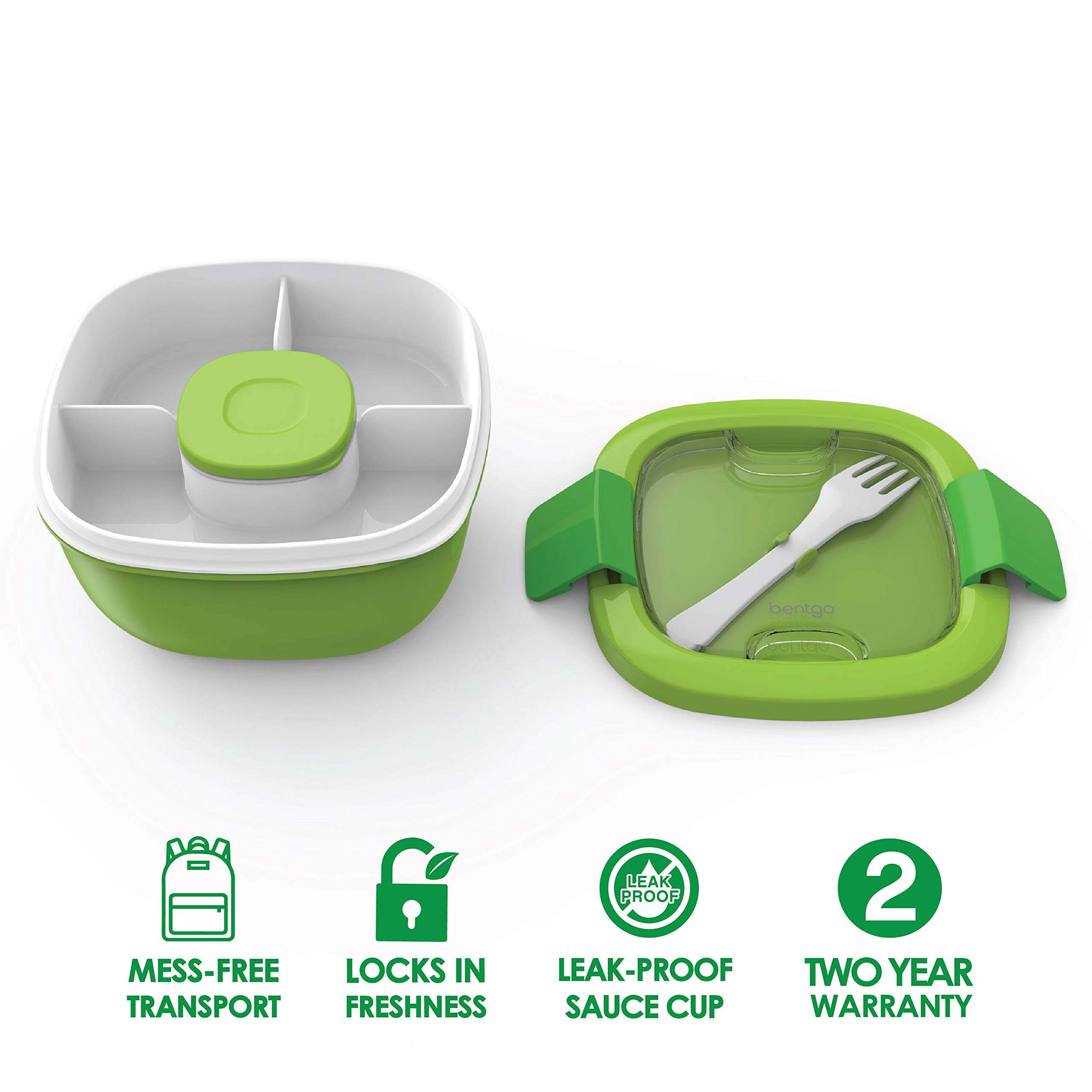 Bentgo Salad (Green) BPA-Free Lunch Container with Large 54-oz Salad Bowl, 3-Compartment Bento-Style Tray for Salad Toppings and Snacks, 3-oz Sauce Container for Dressings, and Built-In Reusable Fork by Bentgo (Image #2)