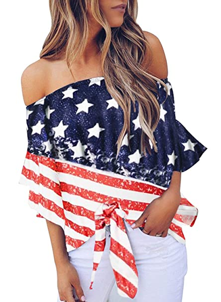 71ebd941 FARYSAYS Women's 4th of July Patriotic American Flag Off Shoulder Bell  Sleeve Tie Knot Tops Blouses