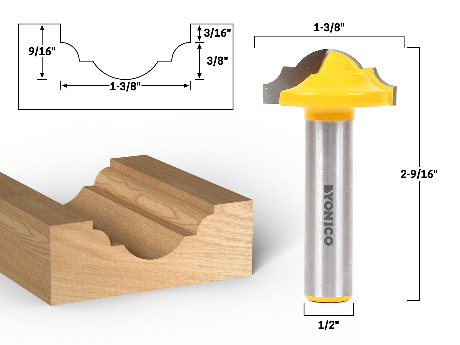 Yonico 13025 1-3/8-Inch Dia. Classical Roman Ogee Panel CNC Cabinet Door Rail & Stile Router Bit 1/2-Inch Shank