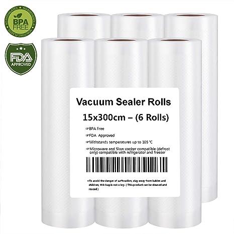 Bolsas de Vacío 6 Rollos 15x300cm de Grado Comercial para el Ahorrador de Alimentos y Sous Vide Cocina, Aprobación de la FDA y BPA Free