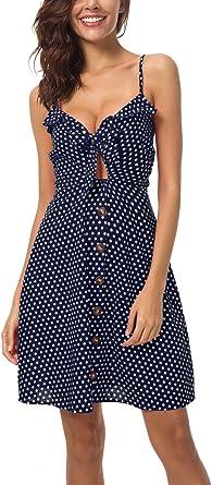 Vestido Casual Cuello v Mujer Verano Azul 38: Amazon.es: Ropa y ...