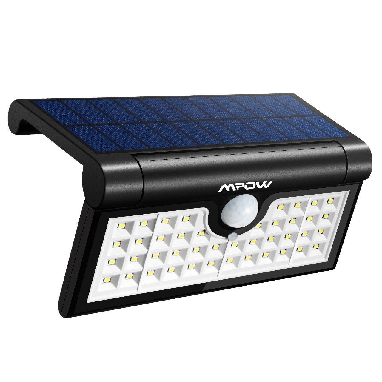 Mpow 42LED Plegable Luz Solar,Sensor de Movimiento,Luz Exterior Portátil,Luz de Pared Brillante,Ángulo de Detección de 120°,Gran Luz Exterior para Acampar ...