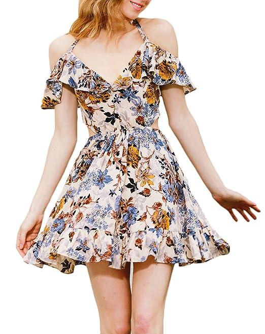cdb7f4439ec4 BoBoLily Donna Vestiti Estivi Eleganti da Cerimonia Vintage Corti Dress con  Volant A Pieghe Vestito Fiore