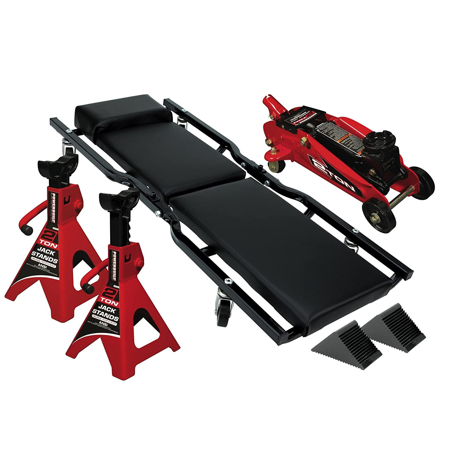 Amazon.com: Powerbuilt 6 Piece Car Service Set, Floor Jack, Jack Stands, Creeper, 640816: Automotive