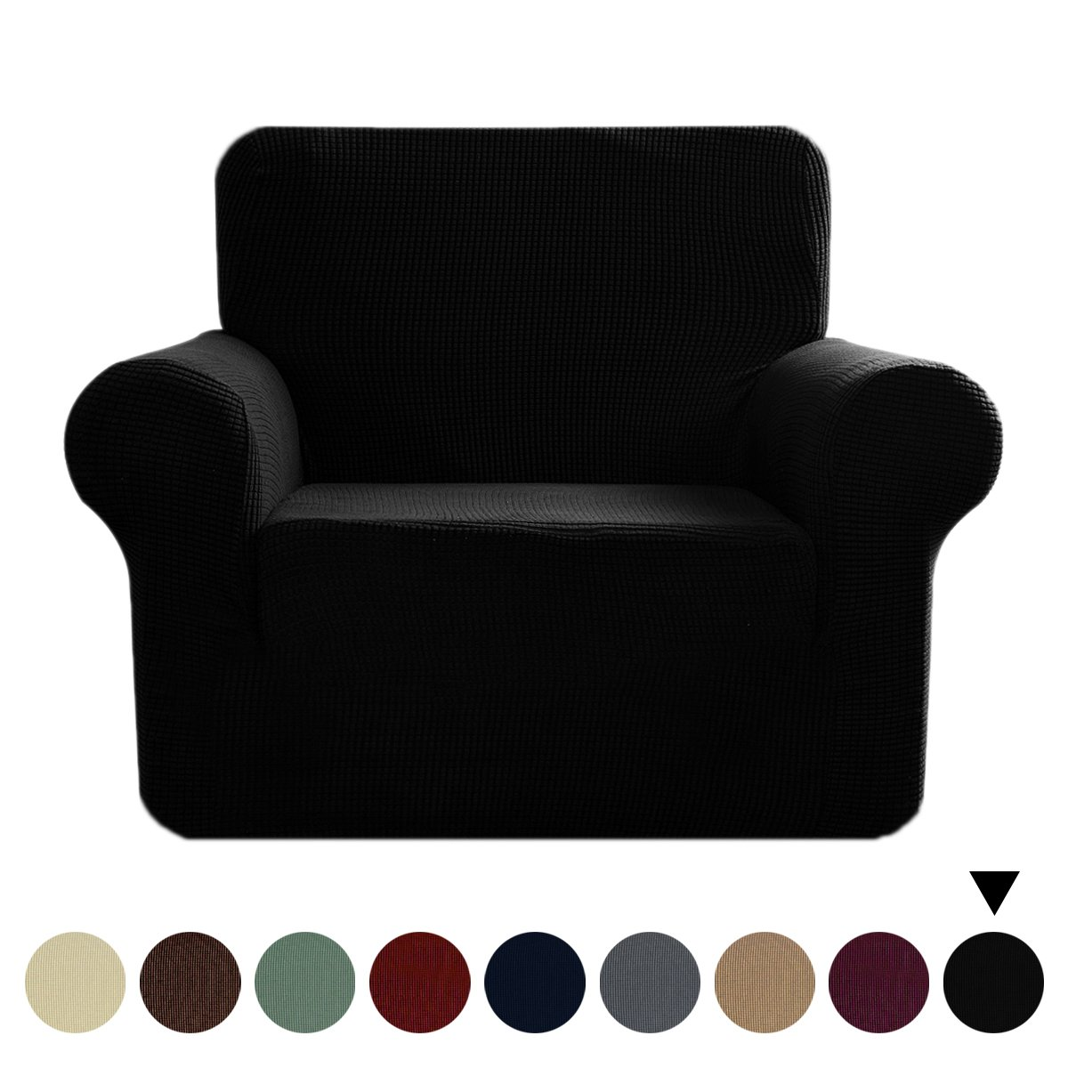 Jacquard Fit Stretch Sofa Cover - 1 Piece Elastic Furniture Protector Couch Cover, Polyester Spandex Soft Polar Fleece Plaid Non Slip Sofa Slipcovers (Armchair, Black)