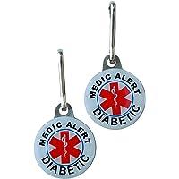 "Medical Alert for Diabetes- Metal Tags Inform:""Medic Alert Diabetic"" (2 PC SET)"
