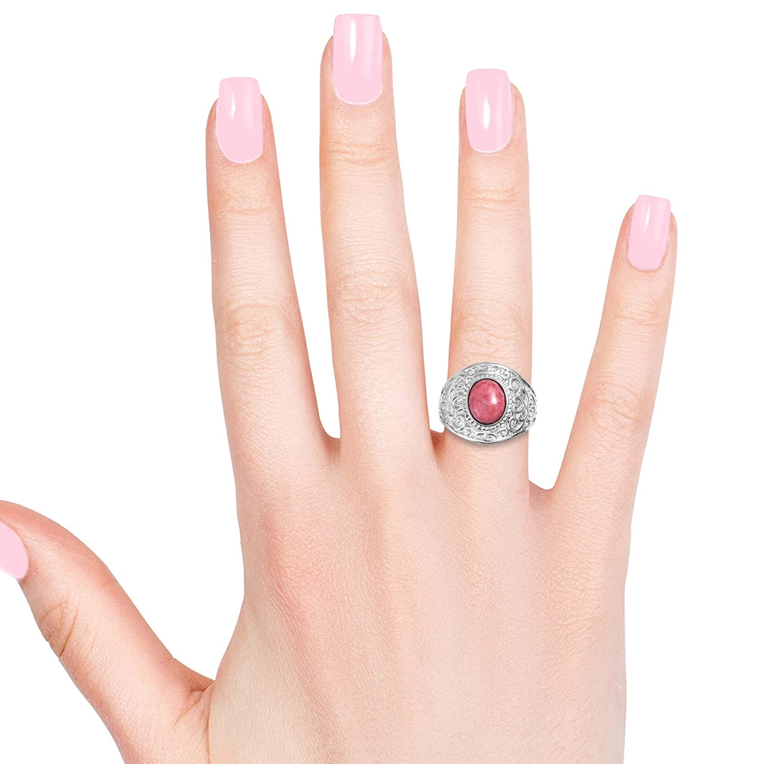 Shop LC Delivering Joy Solitaire Ring Stainless Steel Oval Thulite Jewelry for Women Size 5