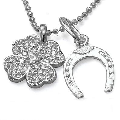 Glücksbringer Kleeblatt Anhänger Zirkonia Halskette Kette Silberkette 925 u