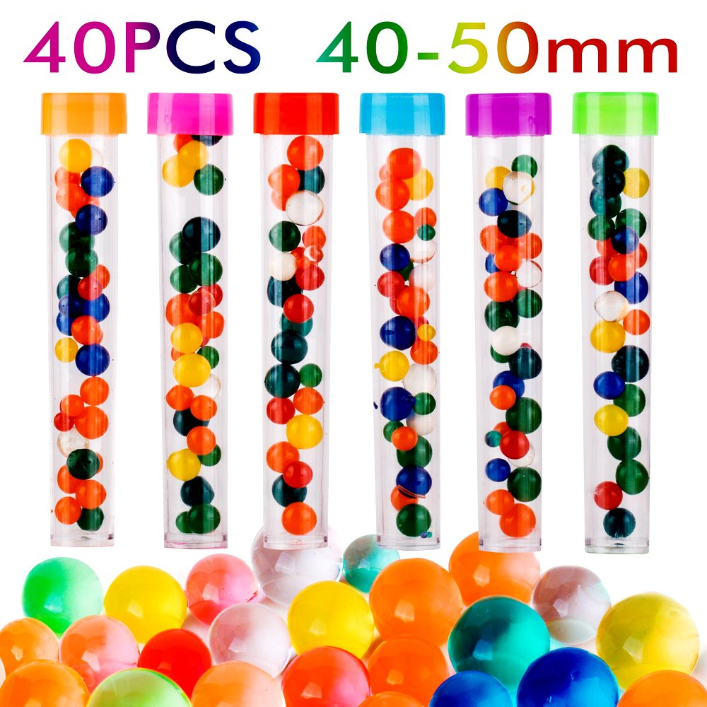 PROLOSO Jumbo Water Beads Pack Rainbow Mix Gel Jelly Water Growing Balls for Kids Tactile Sensory Toys, Vases, Plants, Wedding and Home Decoration by