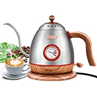 Electric Gooseneck Pour Over Coffee Drip Kettle with Thermometer, Stainless Steel Hot Water Boiler Teapot Kettle, Fast…