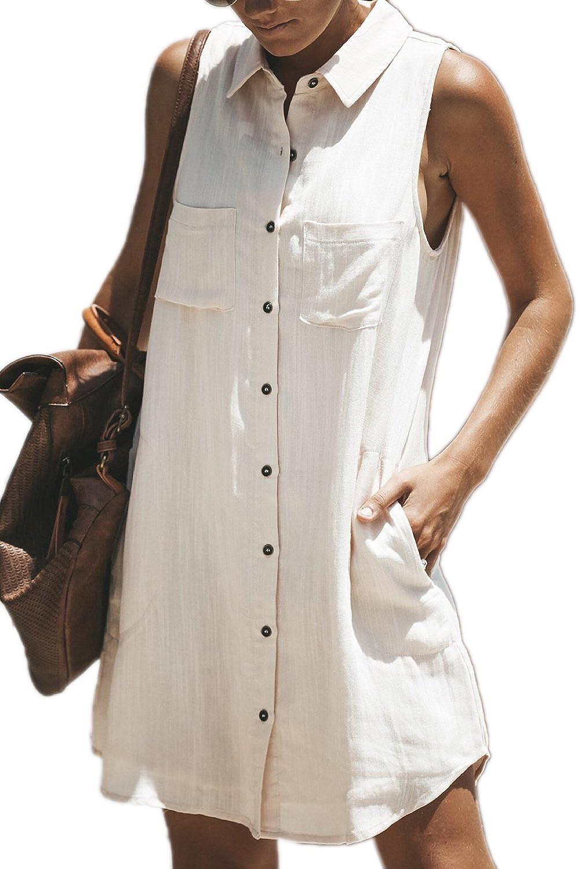 Almaree Womens Sleeveless Collared Button Down Mini Shirt Dresses