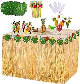 VSTON Falda de Mesa Hawaiana Fiesta Decoraciones de Luau Tropical ...