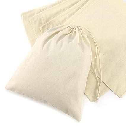 CLE DE TOUS - Bolsas de algodón Saquitos de algodón Bolsas organza de algodón para Regalo Boda Recuerdo Fiesta Navidad Viaje(5 pzs) (25x30cm)