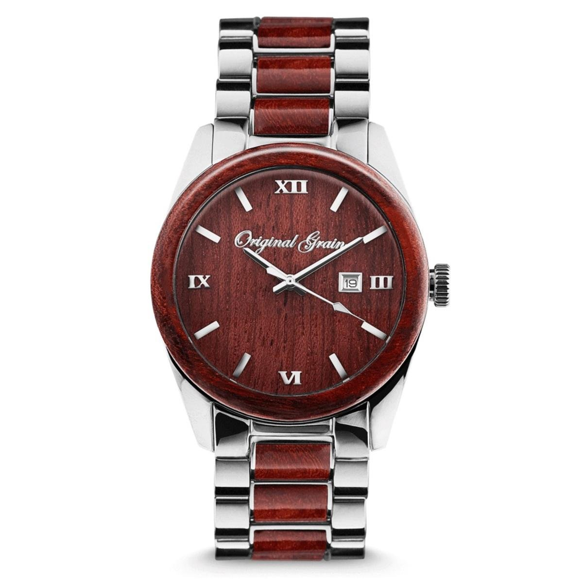 NEW Original Grain Wood Wrist Watch | Classic Collection 43MM Analog Watch | Wood And Stainless Steel Watch Band | Japanese Quartz Movement | Rosewood