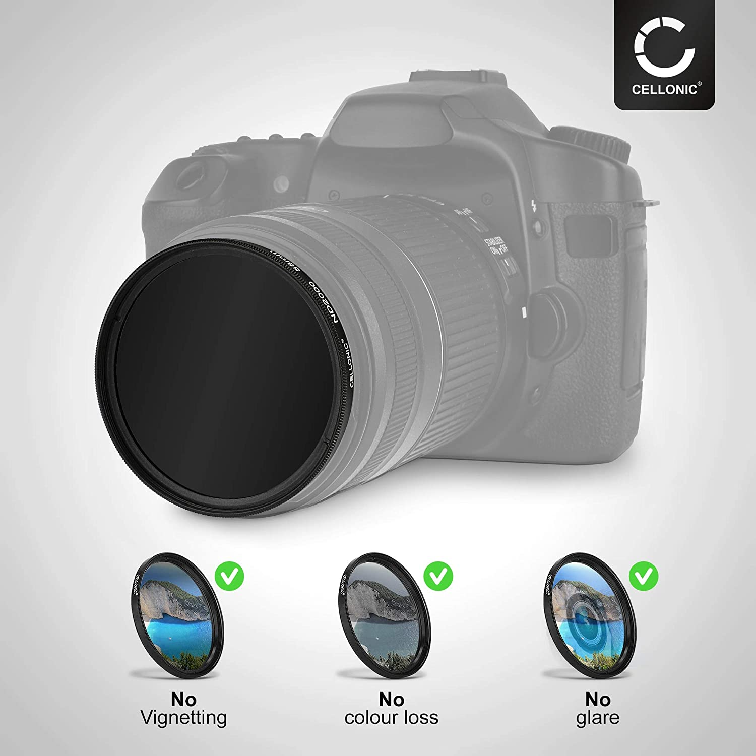CELLONIC/® Neutral-density Filter ND2000 compatible with Canon EF-M 11-22mm f//4-5.6 IS STM//EF-M 18-150mm 1:3,5-6,3 IS STM /Ø 55mm Long Exposure Filter