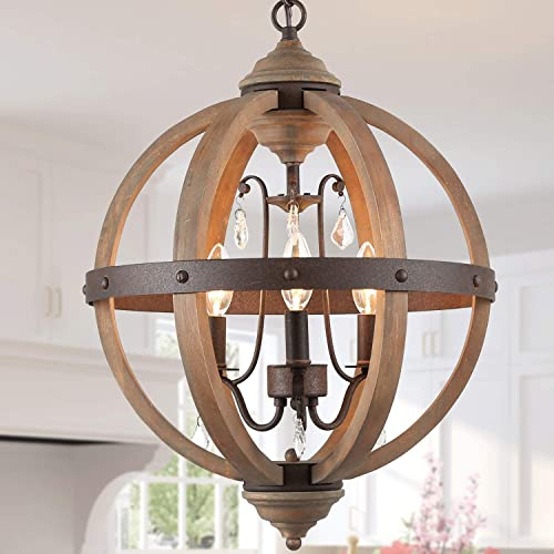 KSANA Farmhouse Wood Chandelier Orb Pendant Lighting with Crystals for Dining, Living Room, Bedroom, Brown