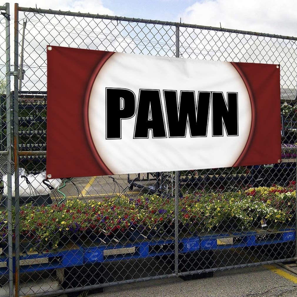 Vinyl Banner Sign Pawn #1 Style D Business Pawn Outdoor Marketing Advertising Brown Set of 2 32inx80in 6 Grommets Multiple Sizes Available