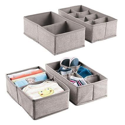 mDesign Juego de 4 cajas de tela para accesorios de bebé – Cajas organizadoras con 2
