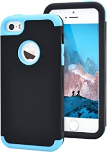 Dailylux Shockproof Case for iPhone 5 / 5C / 5S / SE, PC + Soft Silicone Three Layers Armor Anti-Slip Protective Defensive Hard Back Cover, Black + Blue