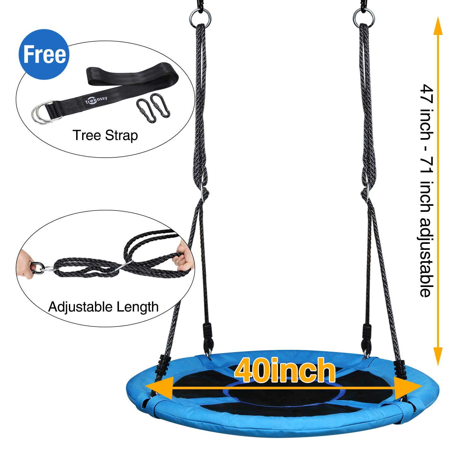 Trekassy 700lb Saucer Tree Swing for Kids Adults 40 Inch 900D Oxford Waterproof Frame with 2 Hanging Straps by Trekassy (Image #2)
