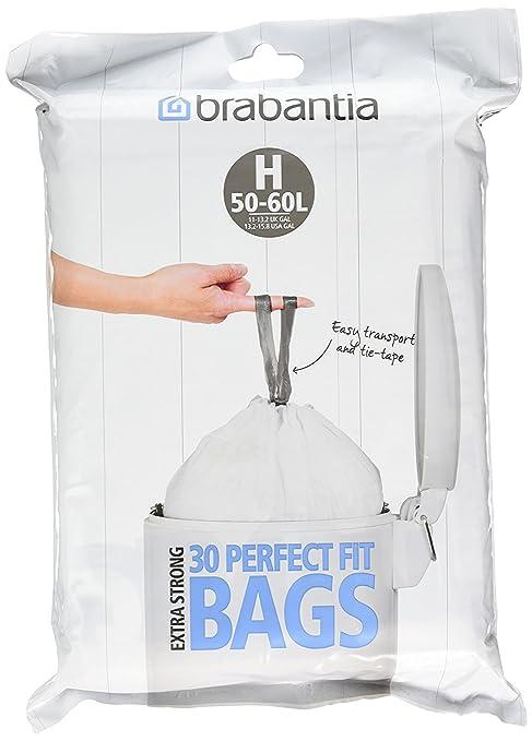 Brabantia Bolsas de basura (tamaño H, 50-60 L, 30 unidades ...