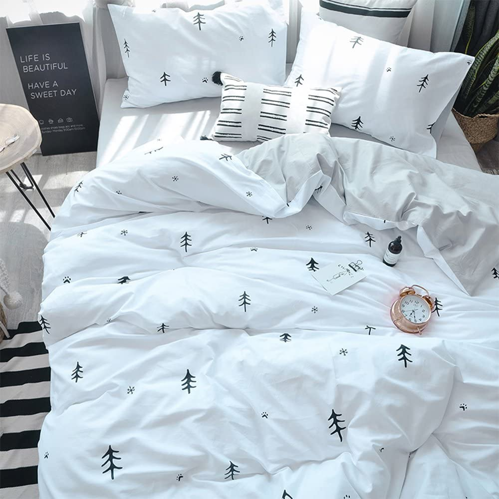 Bulutu Kids Duvet Cover Twin Cotton White Grey Premium Boys Girls Bedding Sets Twin Reversible Single Bed Comforter Cover Zipper Closure Forest Tree Print Pattern Super Soft Breathable No Comforter Kitchen Dining
