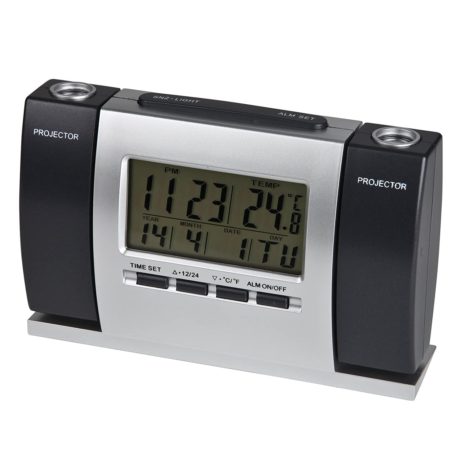 Amazon.com: Timekeeper Digital Face Alarm Clock With Projection Time And  Temperature, Black/Silver: Home U0026 Kitchen