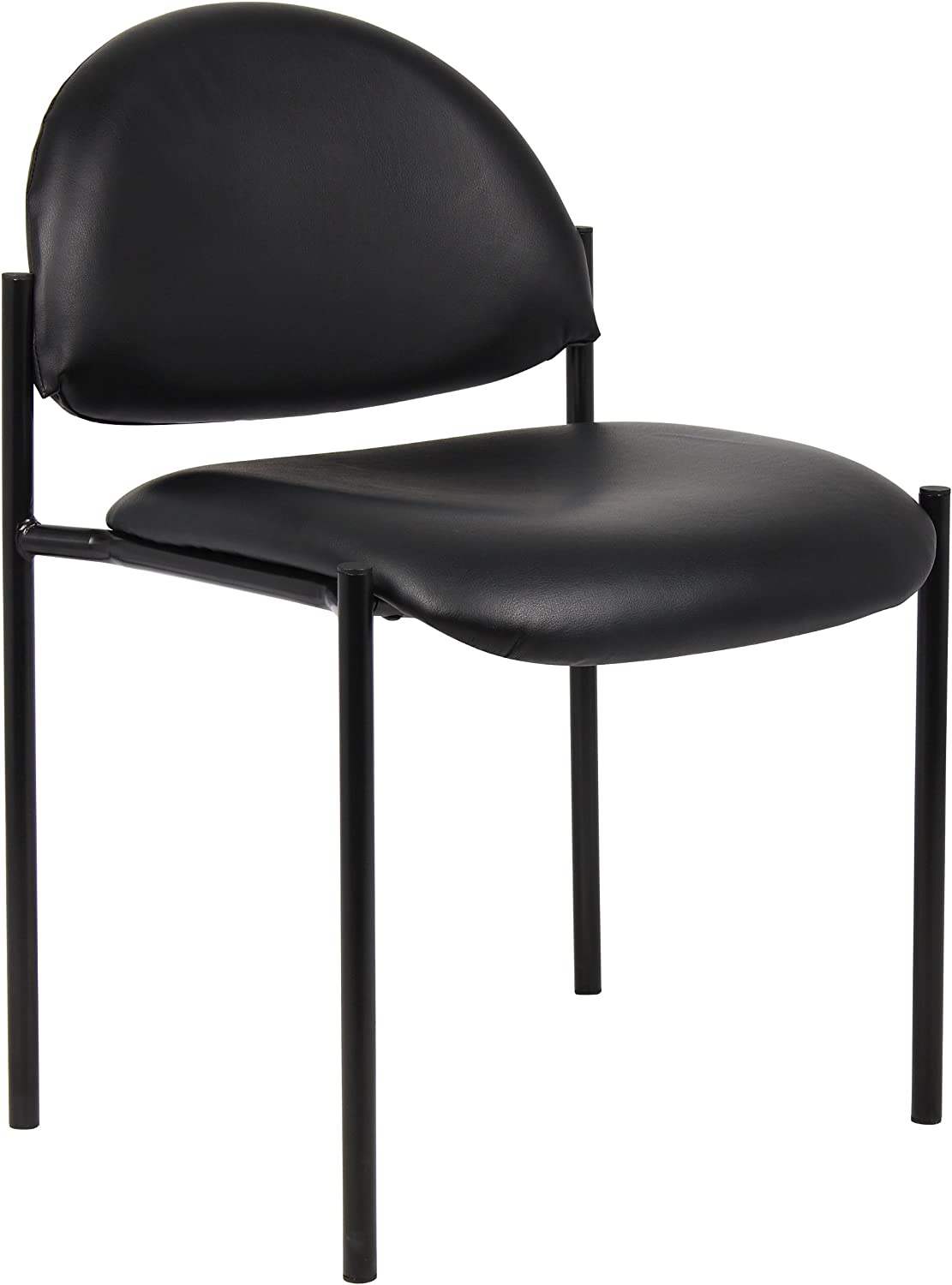 Boss Office Products Dimond Caressoft Stacking Chair in Black
