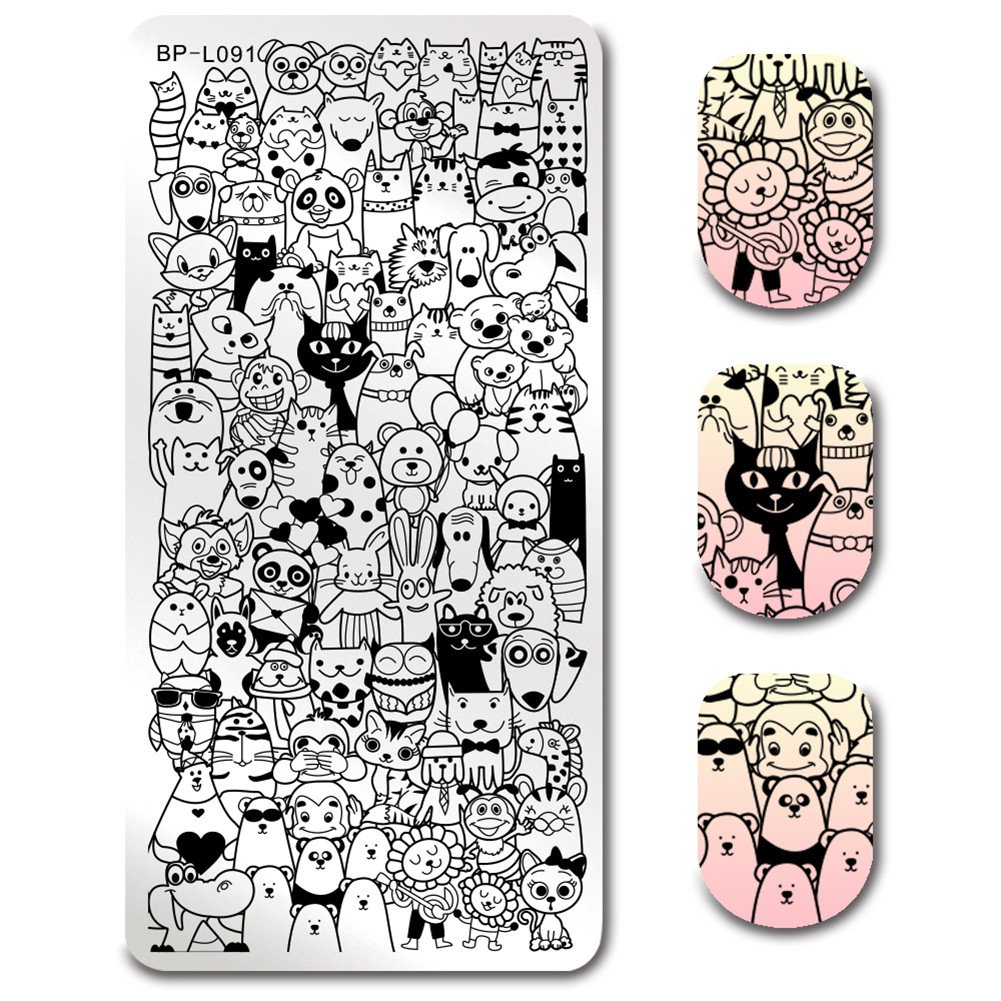 BORN PRETTY Nail Art Stamping Template Cute Cartoon Style Cat Dog Animals Comic Image Manicure Print Image Plate