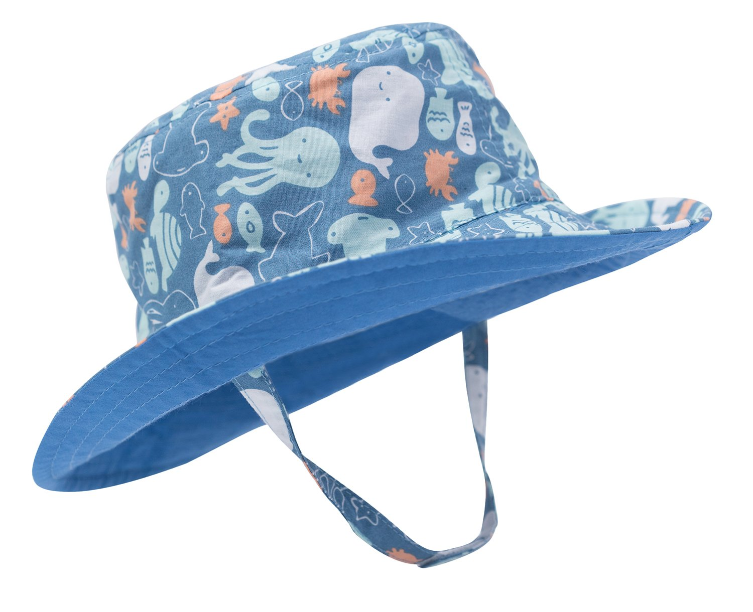 Eriso Baby Toddler Plaid Bucket Reversible Sun Protection Animal Hat ((19.7'') 12-24 Months, Octopus)